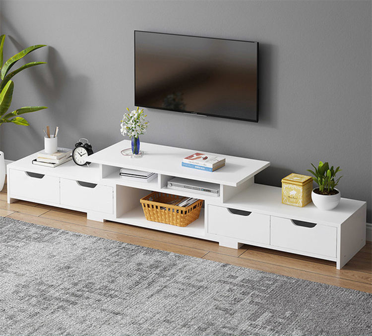 Winstar Furniture Cheap Modern MDF/Tempered Glass TV Table Simple Fashion White TV Cabinet With Drawer