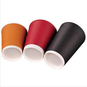 Biodegradable Paper Cup Custom Printed Disposable Ripple Wall Paper Coffee Cups