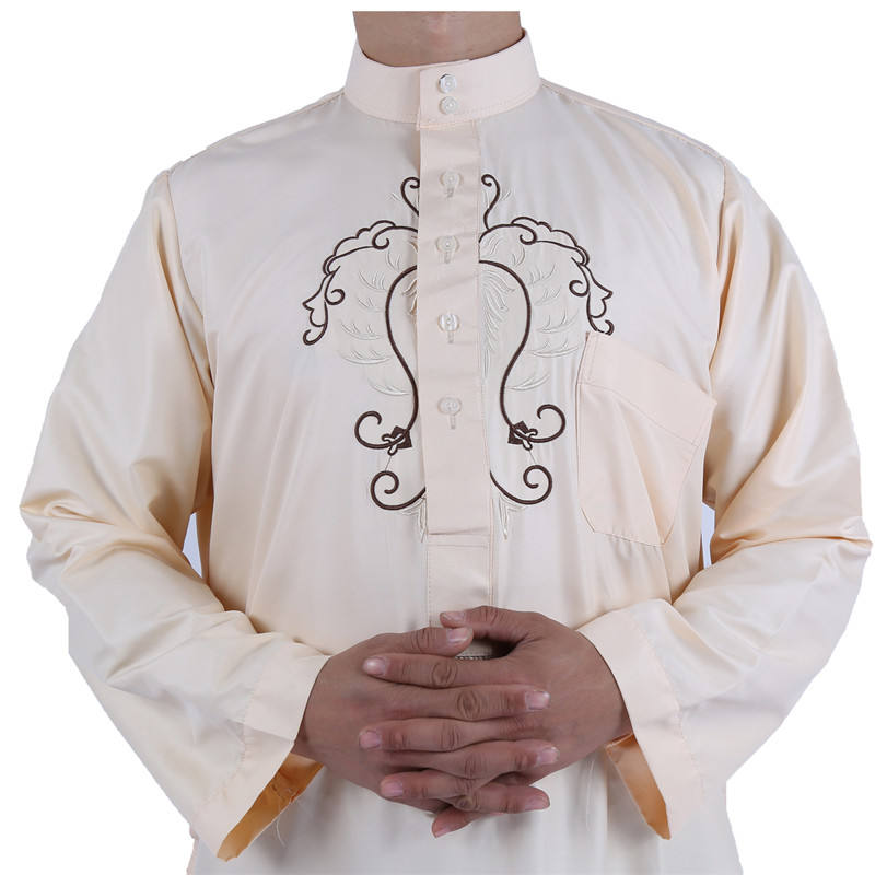 2020 Fashion Shiny material embroider muslim Islam clothes men thobe jubah