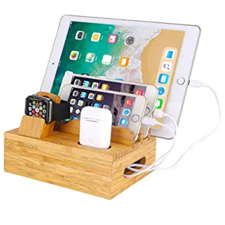 High Quality 5-port Usb Bamboo Wood Mobile Phone Charging Station