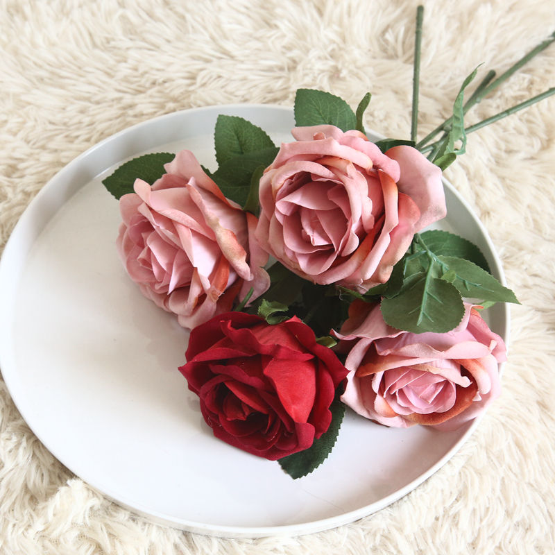 hot sale long stem artificial wedding mini fabric rose flower