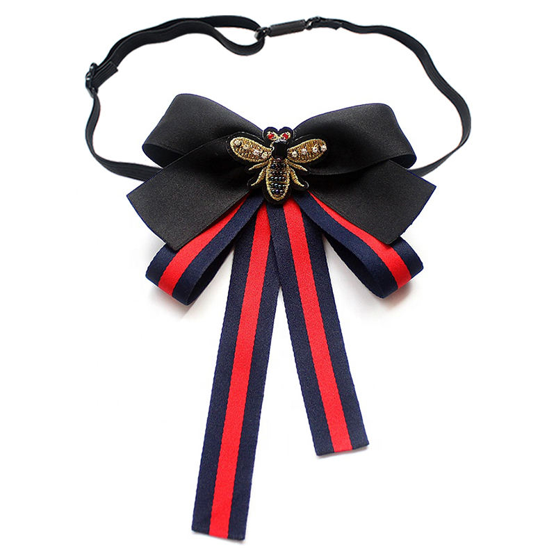 Stripe Bees Double Color Women Bow Tie Brooches Pins Ribbon Vintage Collar Shirt Dress Accessories Jewelry Bow Tie