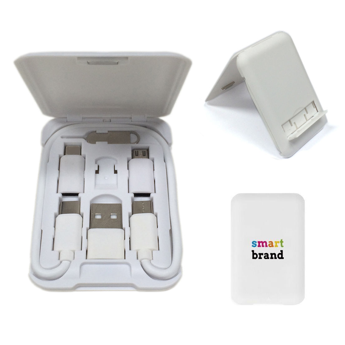 2020 New Travel Gift Sets Credit Card Phone USB Charging Cord Phone Stand 5in1 Adapter Cable Box Mobile Phone Charging Kits