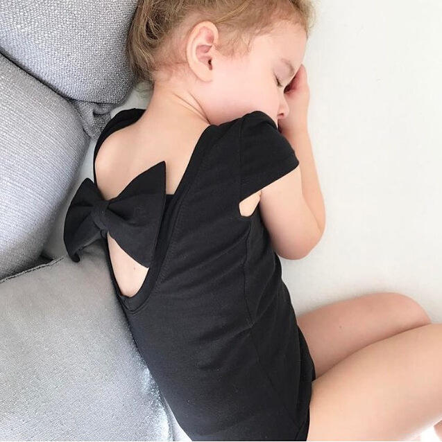Gymnastics Ballet Leotards Baby Sleeveless Black Bodysuits Back Bows Leo Girls Dacing Rompers