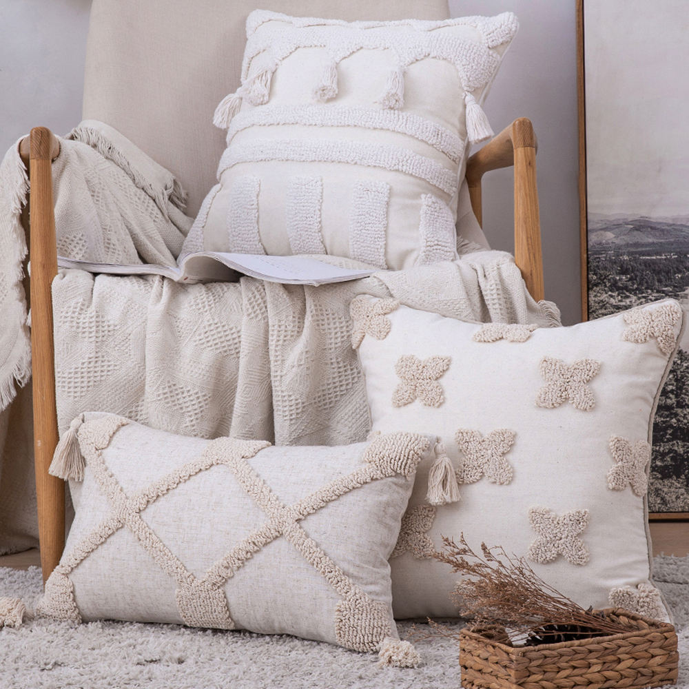 Luxury Macrame boho pillow covers Woven Tufted boho throw pillow cover With Tassel for home sofa car,18x18