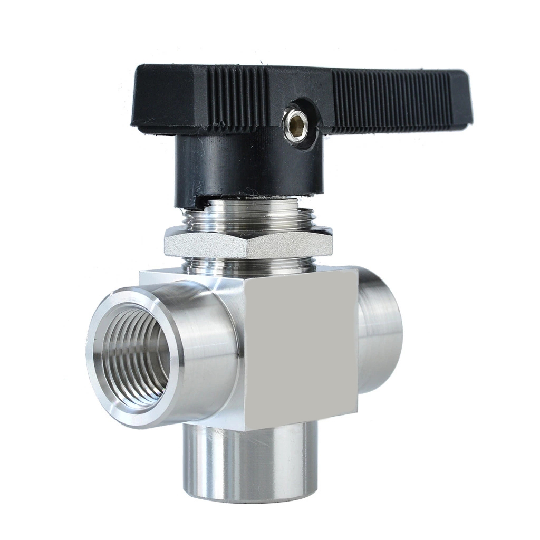 Female 3 Way Panel Mounted Stainless Steel Ball Valve