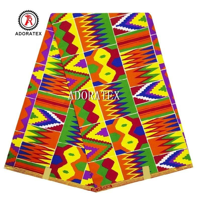 Tela kente Africana estampada 6 yardas <span class=keywords><strong>de</strong></span> <span class=keywords><strong>cera</strong></span> real, venta al por mayor