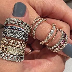 Miami cuban link chain ring iced out cz bling moving chain design hiphop Rock Women finger jewelry