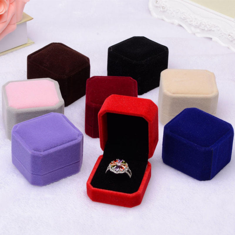 Jewelry Gift Box Square Rings Packaging Display Portable Travel Case Velvet Ring Box Ring Jewelry Box