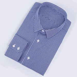 MTM Tailored Custom Oem Men Plaid Man Blue Fabric Satin Cotton Shirts Formal High Quality