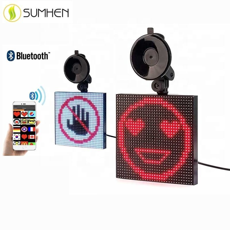 Sumhen Auto Zeichen LED Emotion <span class=keywords><strong>Nachricht</strong></span> display Board Emoji Auto Display licht volle farbe lustige drahtlose App control display