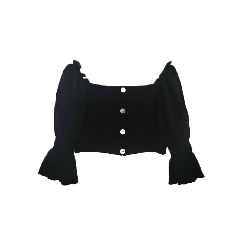 China Professional Manufacture Slim And Medium Soft Ruffle Bubble Square Collar Shirt