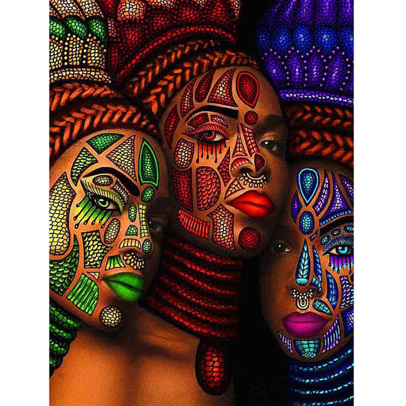 Diy 5d Diamond Painting Kit Three African Women Rhinestones Diamond Embroidery Wall Art For Living Room