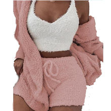 wholesale ladies plush 3 piece tracksuit casual pajamas long sleeve cardigan vest short pant women party sweater set