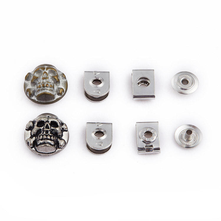 NIUNIU OEM Wholesale Custom Brass Metal Trouser Hook And Eye Skull Snap Button For Trousers