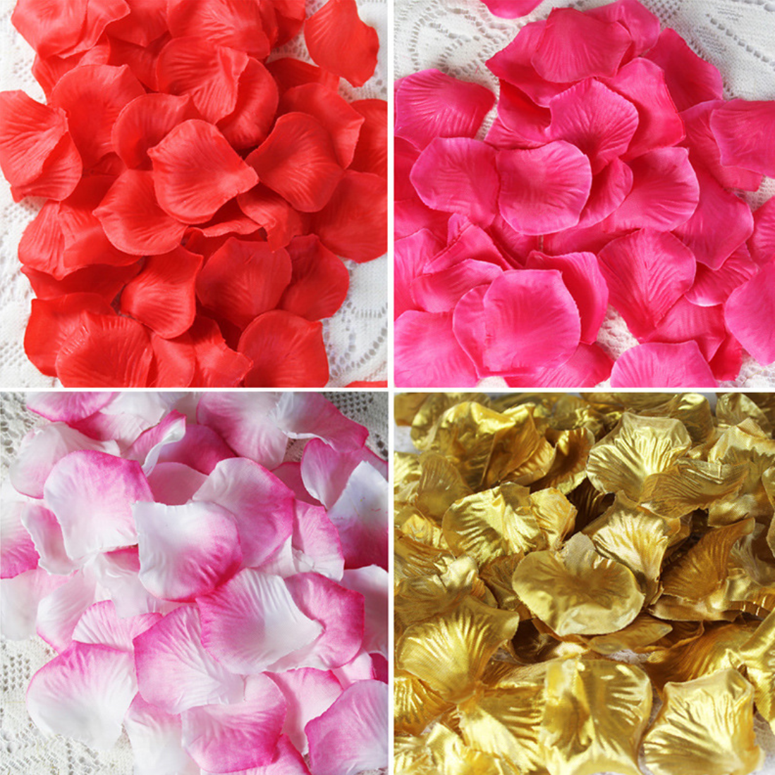 T04139 Floral Flower Arrangements Backdrop Dried Satin Red Blue Real Touch Latex Silk Rose Flower Petals Rose Petals Wedding