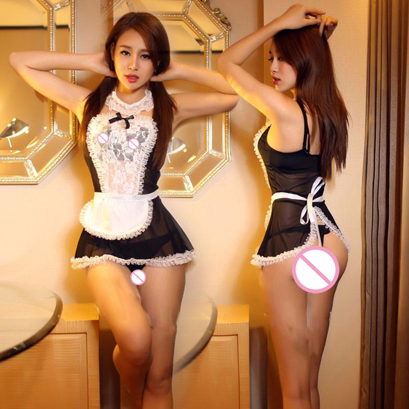 ST807 Cosplay Maid Uniform Role Play Women Sexy Lingerie Underwear Female White Lace Erotic Costume