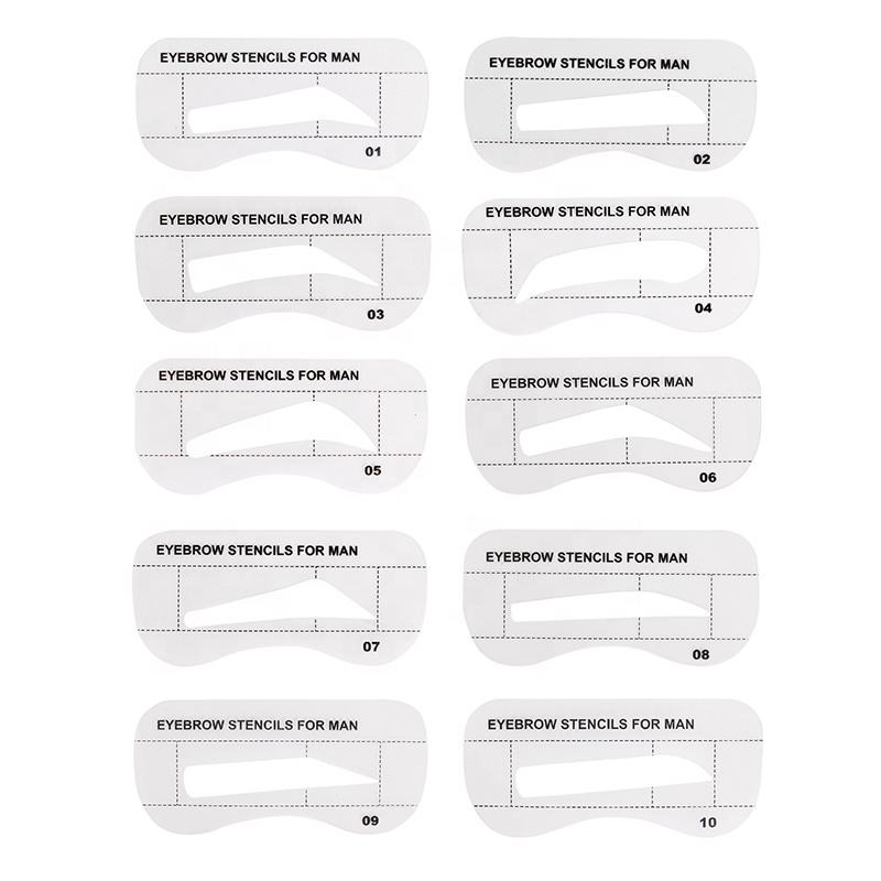New Developing Tattoo Supplies Wholesale 10pcs/Pack Eyebrow Stencil Set Template Eyebrow Stencil Shaping For Men