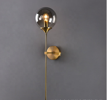 Antique Design Home Decoration Brass Base Amber Globe Glass Shade Indoor Wall Light for Bedroom