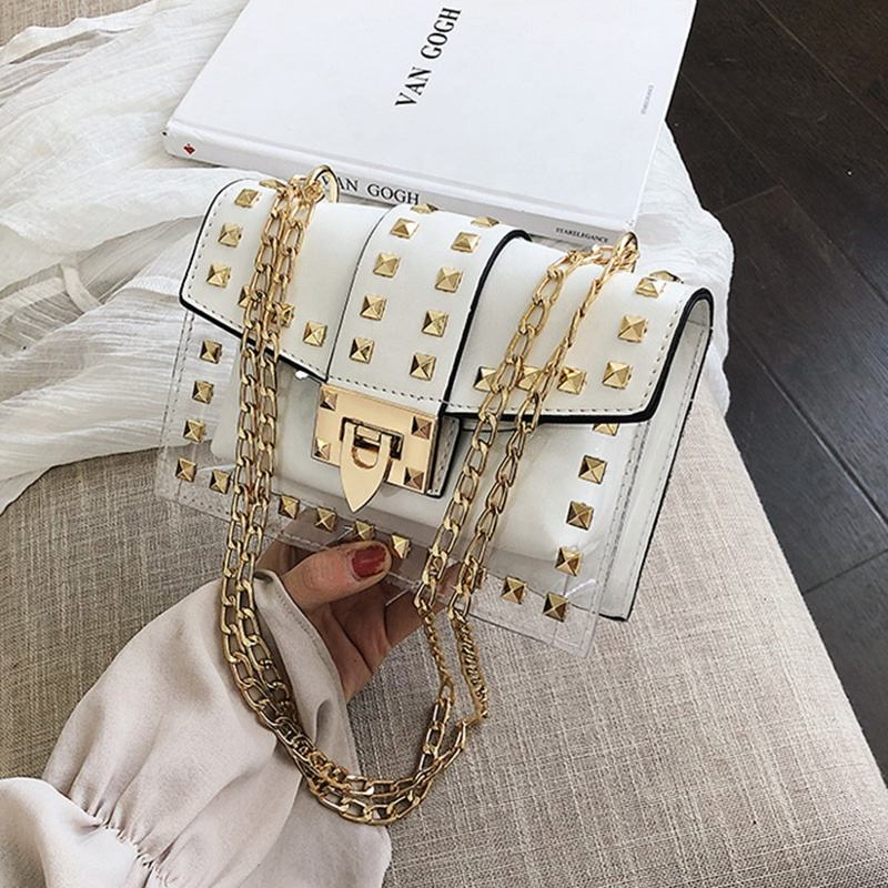 2020 Hot Selling Fashion Klinknagel Clear Pvc Handtassen Vrouwen China Handtas Dames Tas Vrouwen Handtassen