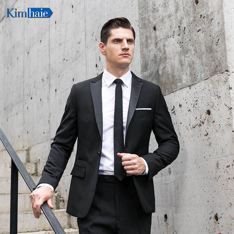 Best selling men's black single Breasted 1 button ticket pocket wedding dinner party blazer tuxedo