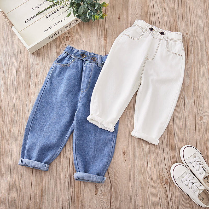 Girls Jeans for Kids spring autumn Trousers Children Jeans Kids Fashion Denim Pants Baby Boys Jean Infant Clothing toddler white
