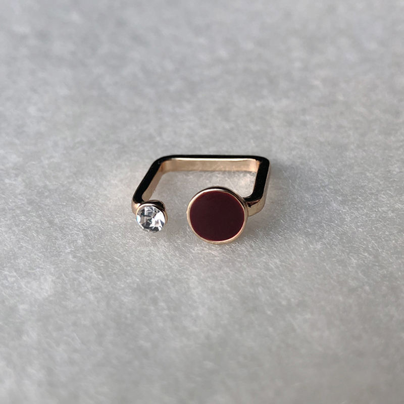 Red Enameled Square Gold Rings Rhinestone Open Geometric Rings for Women Circle Dainty Minimalist Ring Simple Jewelry