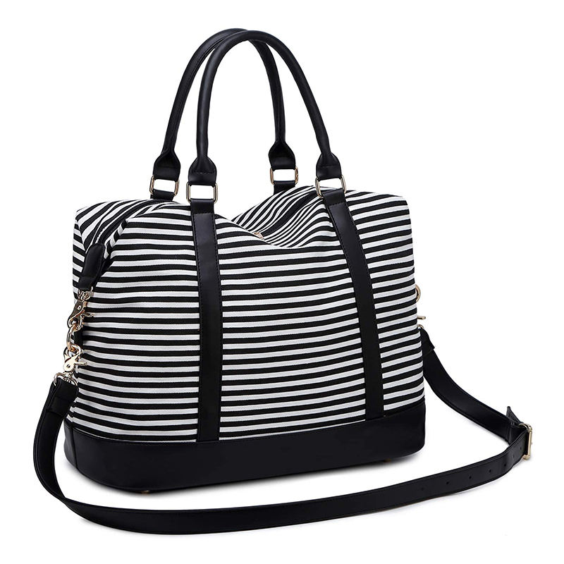 Canvas Overnight Duffel Bag Tote Women Ladies Weekender Travel Bag Stripe