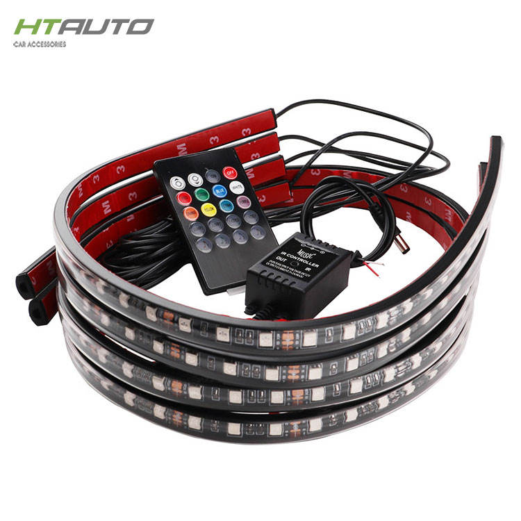 Waterproof RGB LED Strip Light Underbody Exterior Lighting Kit Multi-colored Wireless Remote Control Car Neon Underglow Lights