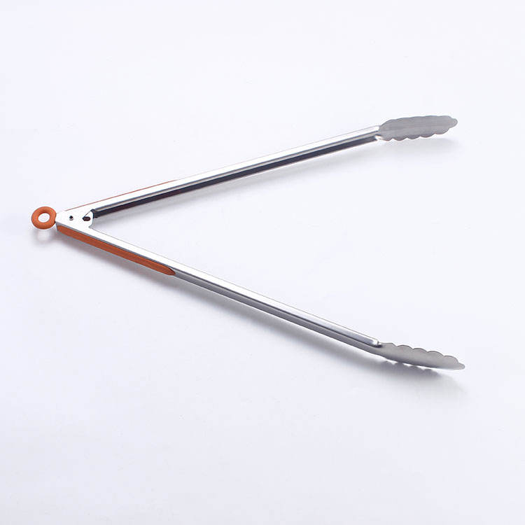 Sabre high quality Heat Resistance BBQ 430 stainless steel kitchen tongs food tong with TPR handle free sample workable