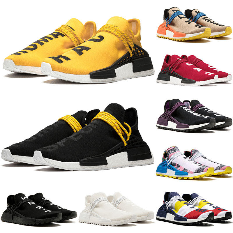 Wholesale 2019 Pharrell Williams Human Race Tennis Men Running Shoes Woman Yellow Core Black Nerd Designer Sneakers