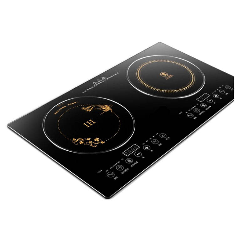 Black Crystal Panel Touch Control Table Built-in Double Ceramic Induction Burner Cooker
