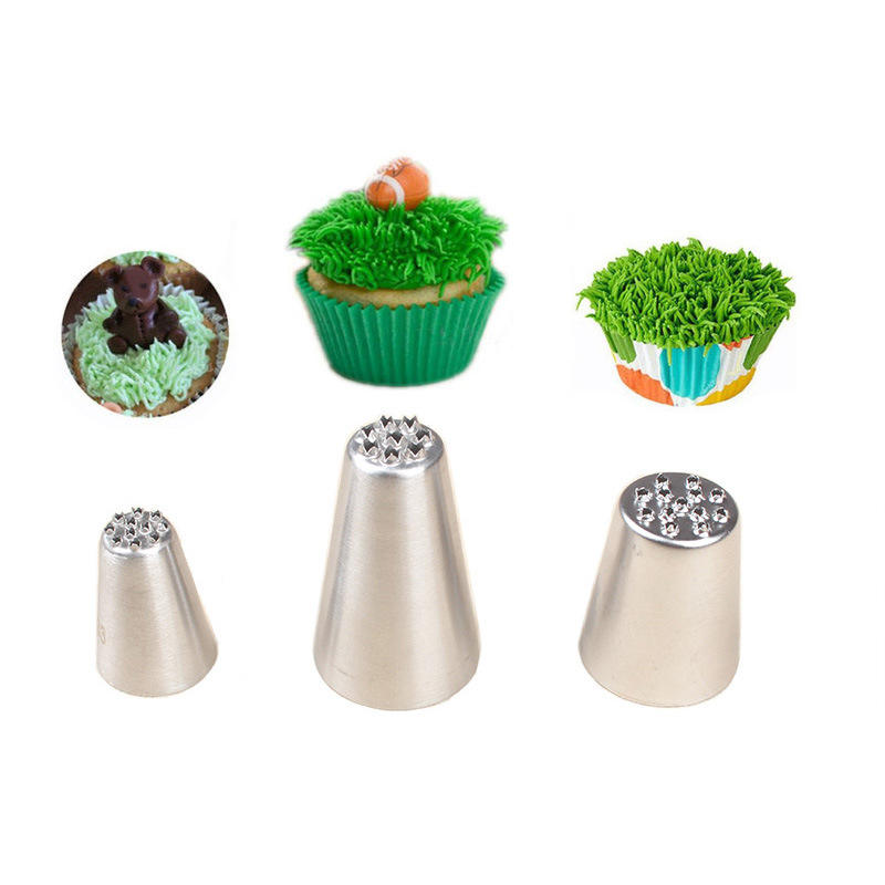 wholesale small grass mouth 3PCS set stainless steel butter decorating tip baking tools cake