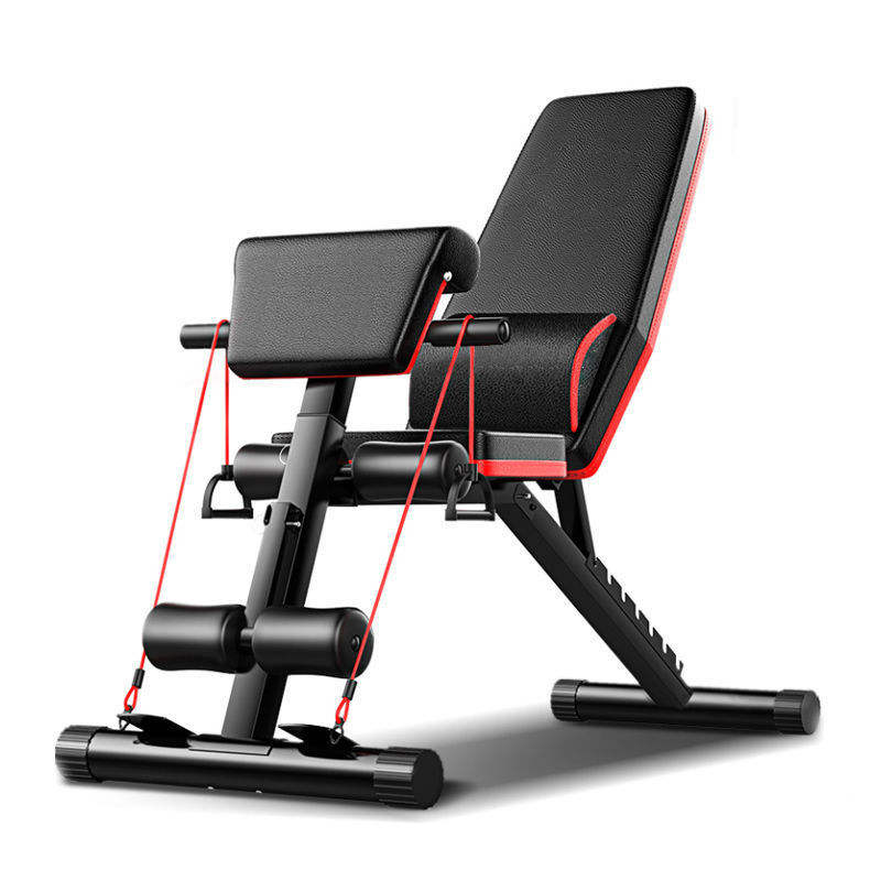 Multi function chest training folding chair sit up abs press flat bench gym fitness exercise weight adjustable dumbbell bench