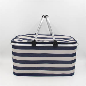 Multifunctional portable fresh-keeping insulation picnic basket striped basket double handle folding shopping basket