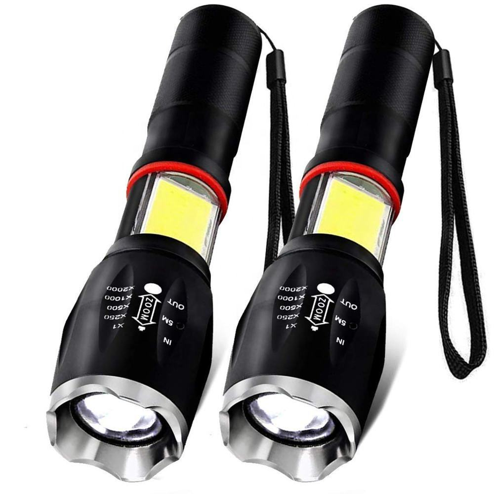 High Power 300 Lumen T6 LED Aluminum Zoom Torch With Side COB Magnetic Portable Tactical Flashlight
