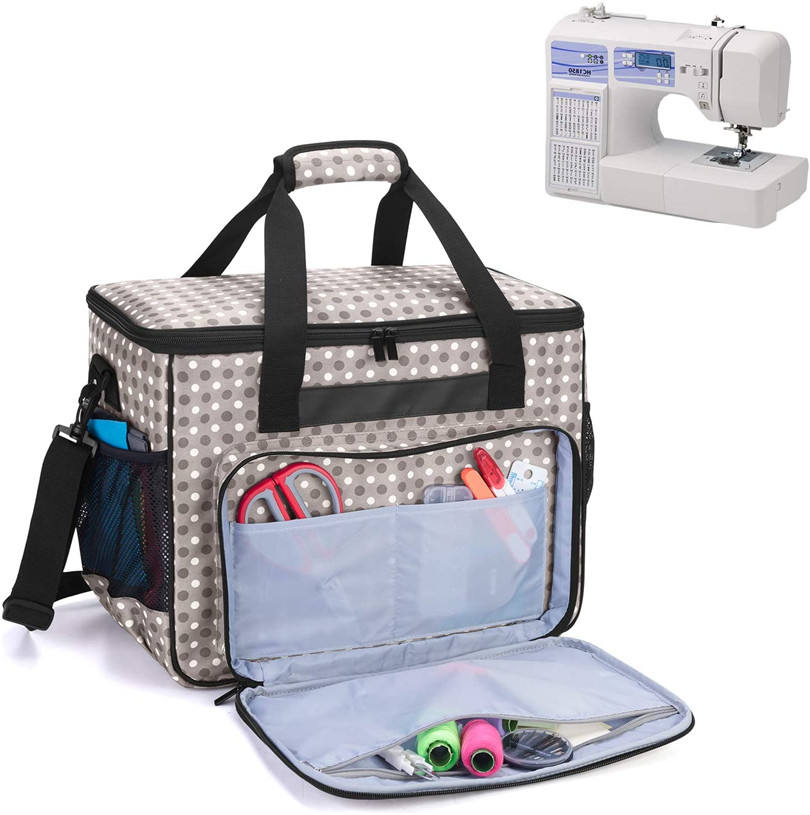 Dot Printing Universal Sewing Machine Bag Travel Sewing Machine Tote Bag with Trolley Sleeve