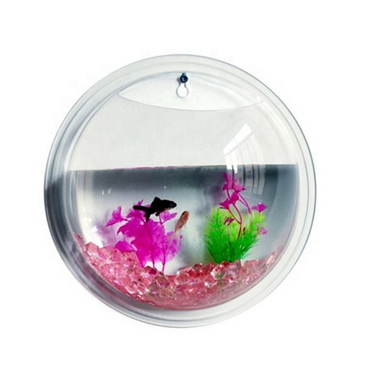 Acrylic Bowl Fish Tank Aquarium Wall Mounted Hanging Fish Bowl