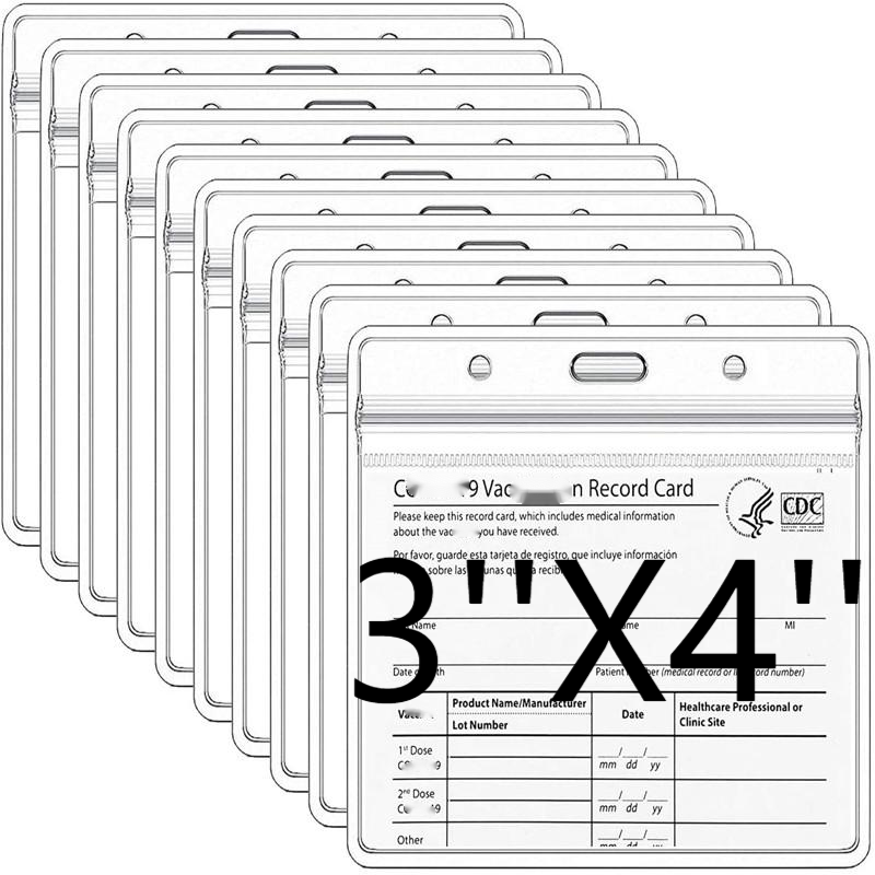 "4 X 3"" PVC Waterproof Clear Transparent Card Protector Record Card Holder Plastic Clear ID Card Holder Name Tag Badge Holder"