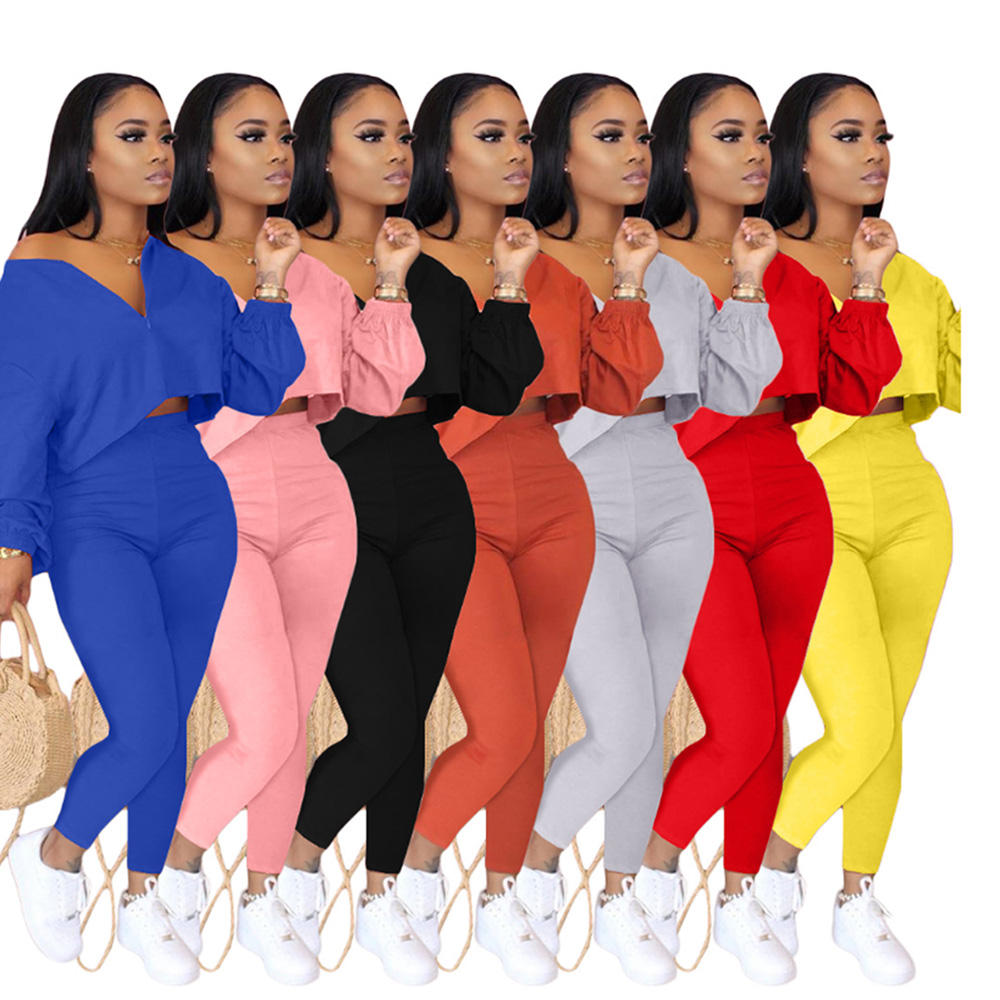 Plus Size Two Piece Set Fall Winter Clothing for Women Plain Tracksuit Crop Top Jogger Pants Set Casual Sexy Track Suits BHL467
