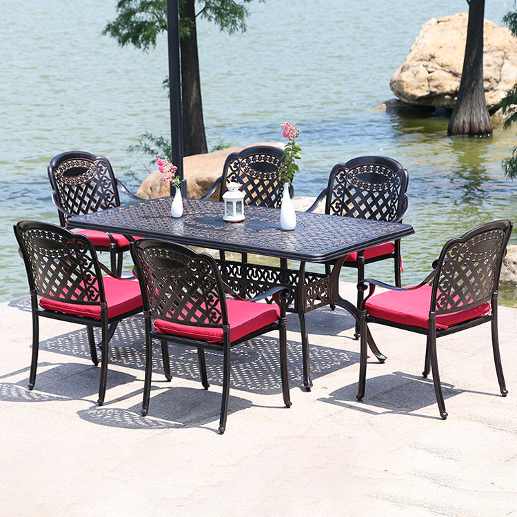 Aluminum Patio Dining Sets Hotel Restaurant Bistro Outdoor Furniture Leisure Alu Metal Garden Tables And Chairs 7pcs Cast Aluminum Patio Dining Set