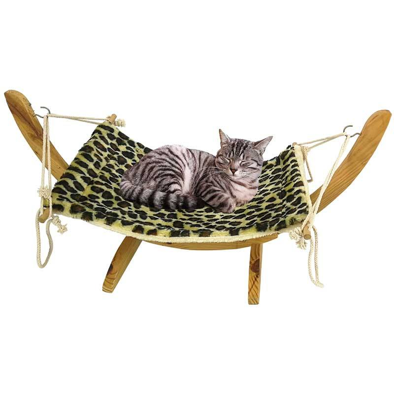 Pets_bed Wooden Polyester Leopard Print Pet Furniture Cat Swing Bed Cat Hammock Bed