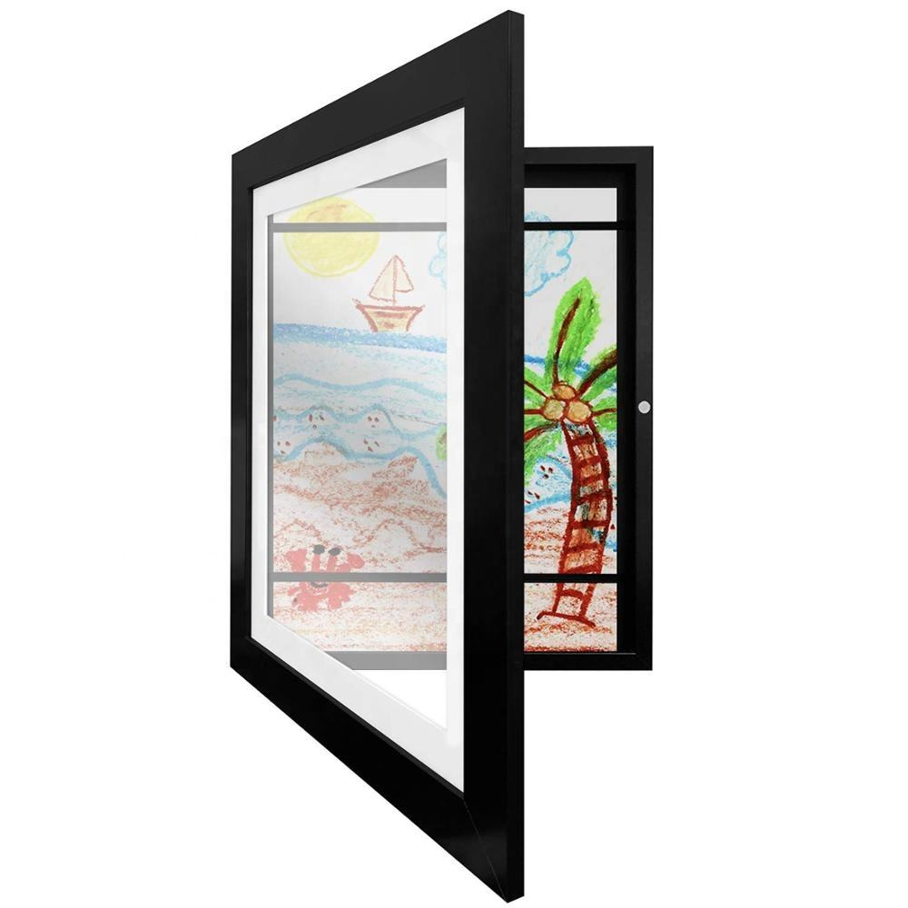 High quality wood custom Black Kids 3D DEEP DIY Artwork Picture Frame with Shatter Resistant Glass