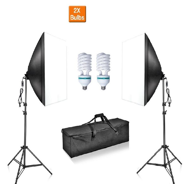 umbrella type 85w CFL bulb camera softbox photography studio soft box kit with lamp and light stand