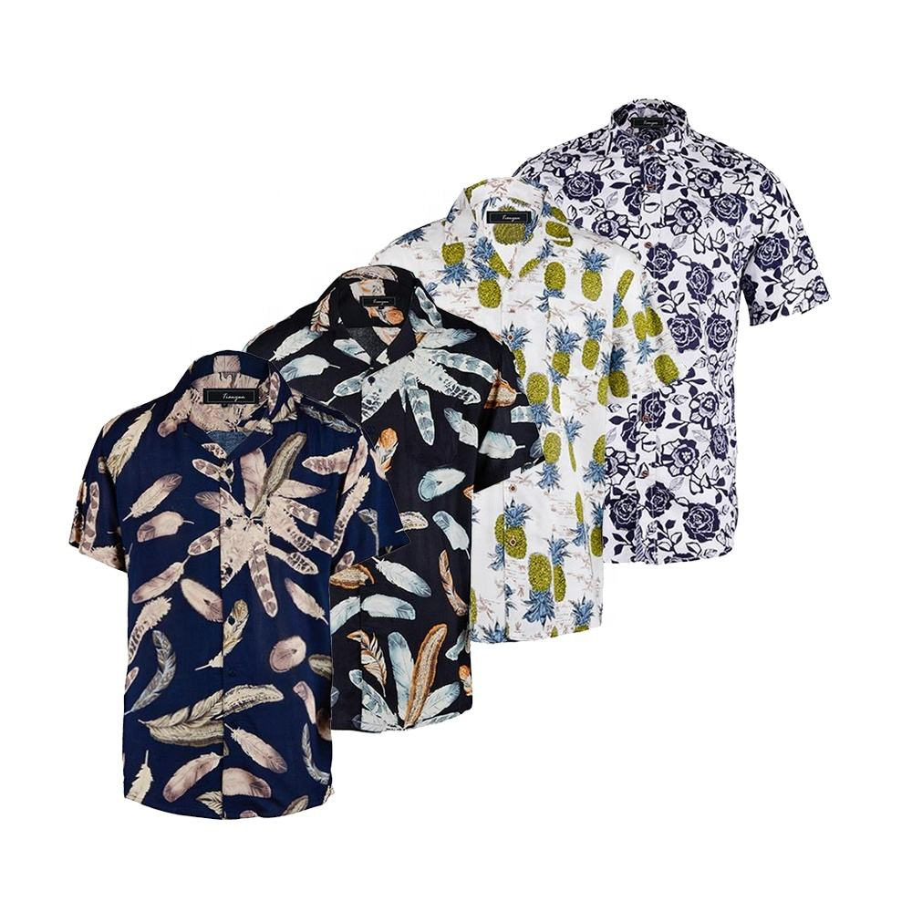 Factory supplier custom art rayon fashion hawaiian printing short sleeve floral shirt for men