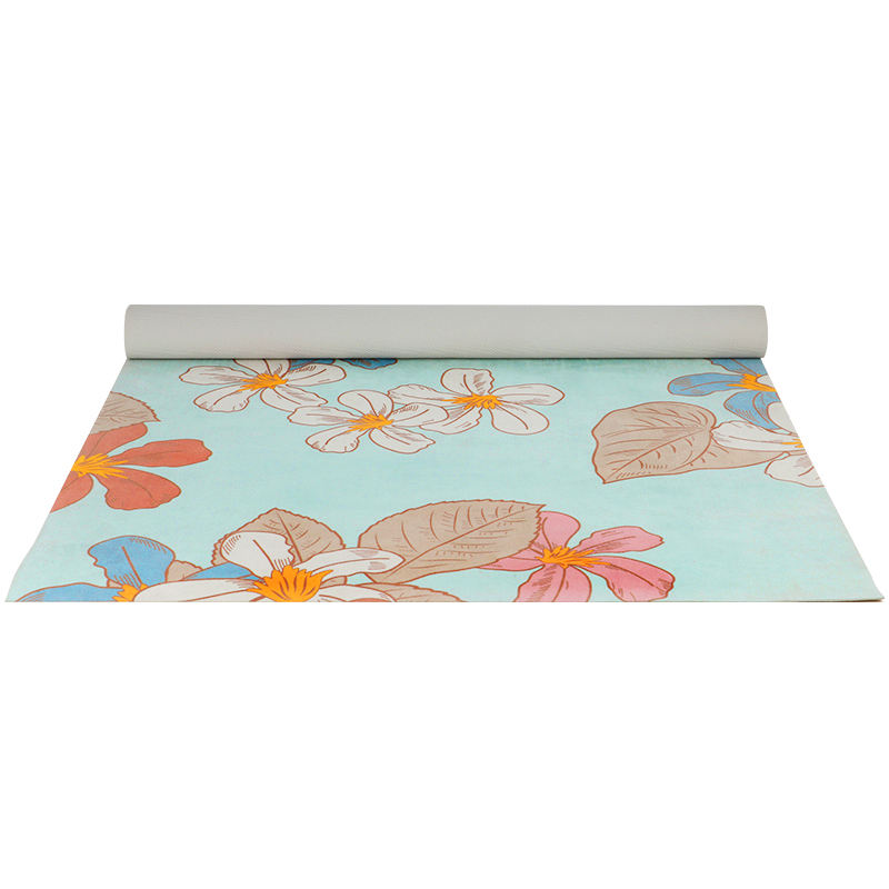 foldable anti slip eco friendly flower print rubber yoga mat