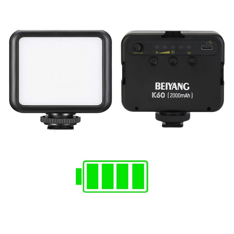 Beiyang K60 Rechargeable 2000mAh LED Photography Lighting Camera Fill Lamp Portable Mini LED Video Light With Soft Light Panel