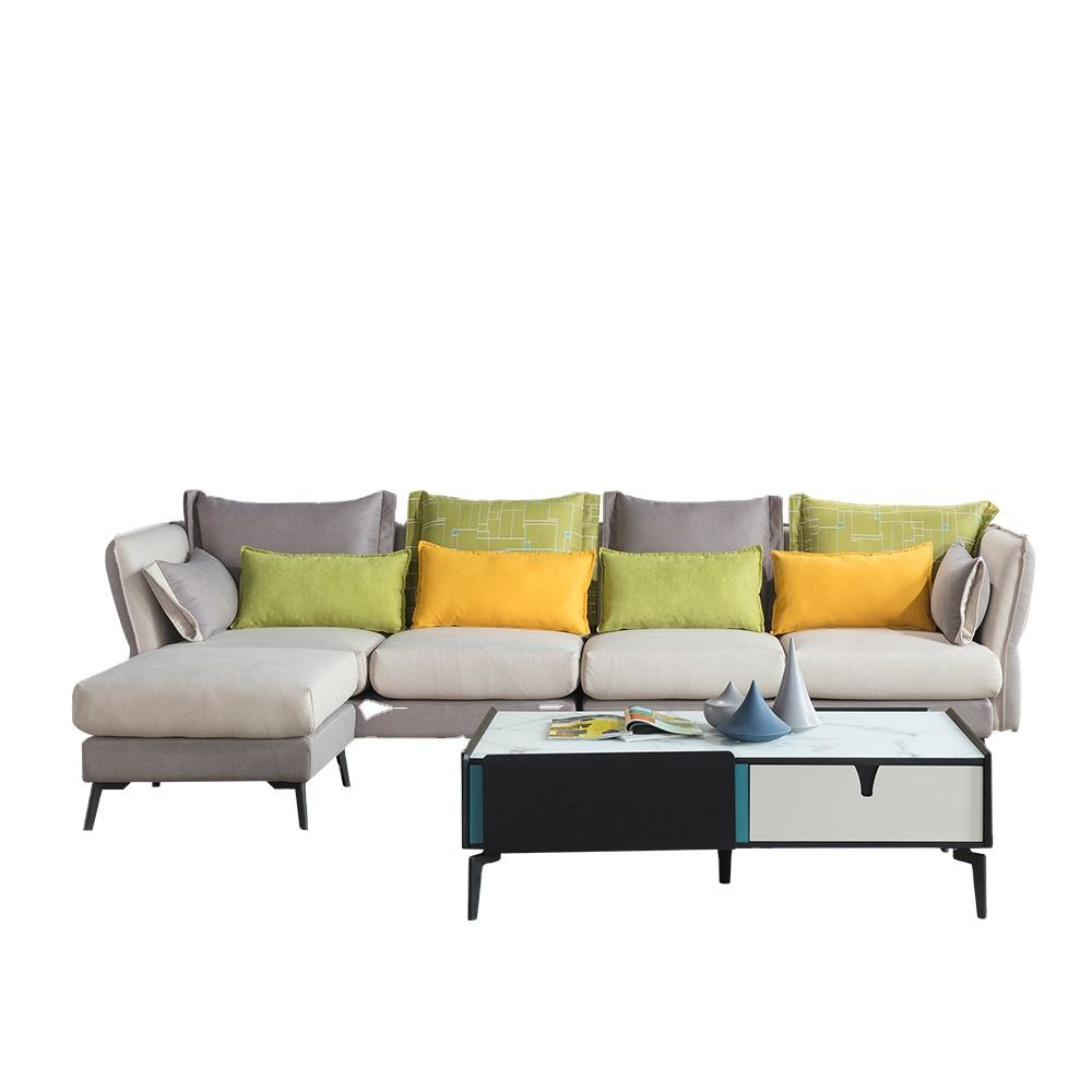 Wholesale European style L shaped connection fabric sofa living room sofa sets Upholstery Couch sectional lounge