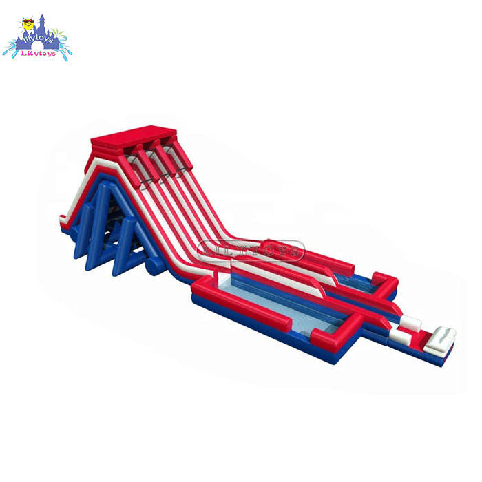Inflatable High Giant Water Slide Two Lanes With Foam Pool For Events