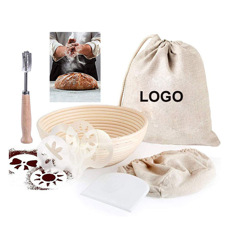 Luxurious 100% Eco-friendly Natural Rattan 9 Inch Wooden Handle Bread Lame Bread Banneton Proofing Basket Set with Cotton Bag